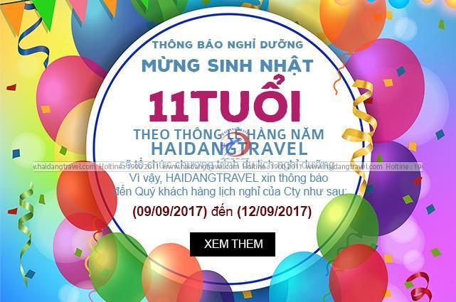 Thông Báo nghỉ dưỡng mừng 11 năm thành lập công ty Haidangtravel